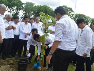 Penanaman pohon oleh Rektor UNP Parof. Ganefri seusai pencanangan program Gerakan Menanam 1000 Pohon.