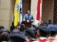 Rektor Prof. Ganefri saat memberi sambutan pada pengukuhan Uk - Ormawa di lingkungan UNP.