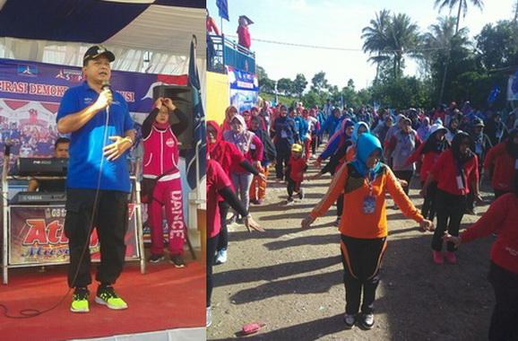 Senam masssal dalam memeriahkan HUT Kab. Solok ke 105 di Taman Rekseasi Istana, Talang Kab. Solok.
