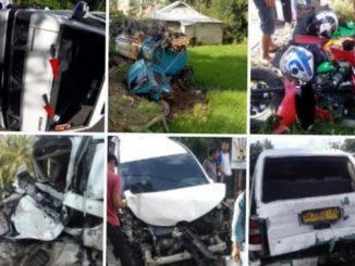 Beberapa kondisi kenderaaan akibat tabrakan beruntun di Batu Batupang, Kab. Solok.