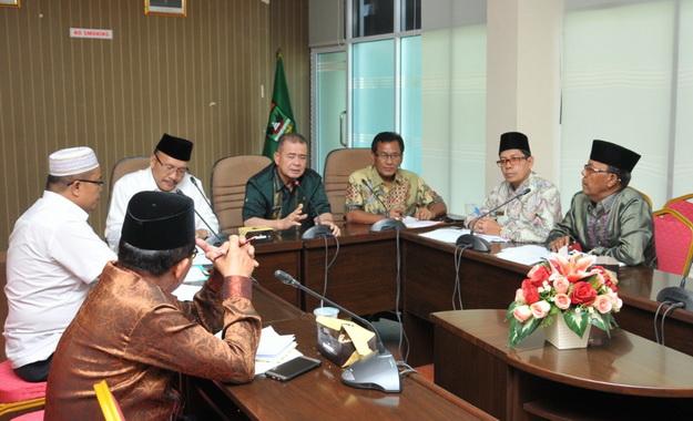 Rapat persiapan pelaksanaan MTQ Nasional ke XXVIII 2020 di ruang rapat lantai II kantor Gubernur.