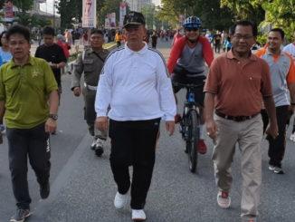 Wagub Nasrul Abit bersama Nasir Ahmad dapa Car Free Day Minggu pagi 21 April 2019.