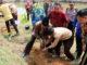 Bupati Sijunjung, Yuswir Arifin menanam pohon pelindung menandai kegiatan konservasi perkampungan adat.