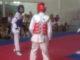Pertandingan cabor Taekwondo di GOR Agussalim Padang.