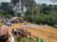 Upacara HUT Kemerdekaan RI digelar di lokasi Objekwisata Goa Batu Kapal bentuk dukungan kemajuan pariwisata alam di SBJ.