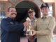 Kadis Perhubungan Yandri dan Walikota Genius Umar bersama Wakapolres Pariaman dengan Piala WTN ke 7 yang diraih Pemko Pariaman.