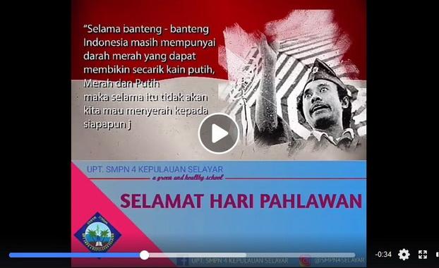 Video Semangat Hari Pahlawan karya OSIS UPT SMP 2 Benteng.