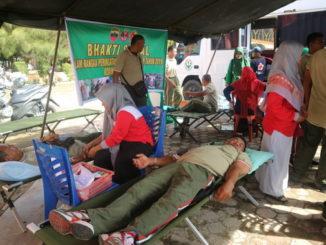 Donor darah dalam rangka memperingati Hari Juang TNI AD 2019 di Painan.