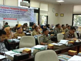 Suasana Seminar Trantibun Linmas yang diadakan Komisi I DPRD Sumbar,
