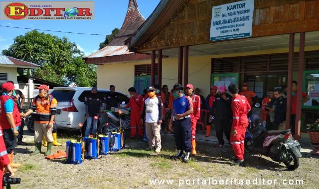 Persiapan penyemprotan disinfektan di Sungai Jariang.