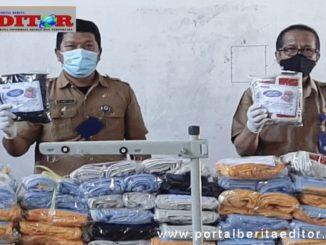 Masker produksi BLK Pasaman yang akan dibagikan.