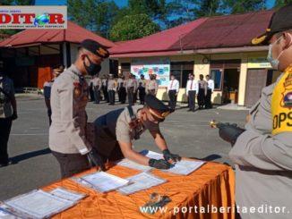 Pendatanganan berita acara sertijab di Polres Solok Arosuka.