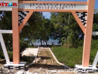 Pembangunan gerbang utama Pantai Goisooinan.