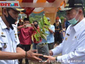 Wagub Nasrul Abit menyerahkan bibit buah di Pagadih.