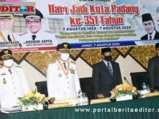 Wako Mahyeldi, Wawako Hendri Septa dan Ketua DPRD Kota Padang sidang paripurna HUT Kota Padang ke 351.