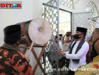 Pemukulan bedug dalam menyambut Tahun Baru Islam 1442 H di Kab. Solok.