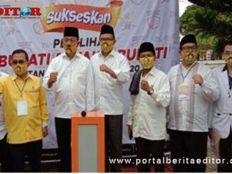 Pasangan Calon Bupati dan Wakil Bupati Zuldafri Darma dan Sultani bersama pengurus partai pengusung.