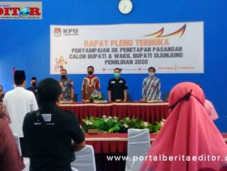 Suasana penetapan calon Bupati dan Wakil Bupati Kabupaten Sijunjung, di aula kantor PUPR Sijunjung,