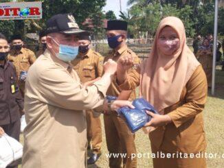 Wagub Nasrul Abit menyerahkan bantuan APD.