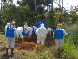 Pemakaman pasien positif covid 19 di Payakumbuh dimakamkan dengan protokol kesehatan.