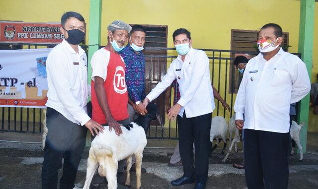Walikota Sawahlunto saat menyerahkan bantuan ternak