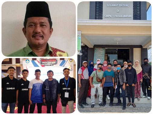 Kepsek SMPN I Payakumbuh, Defi Marlidra S.Pd,M.Pd dan tiga orang siswa yang berhasil masuk seleksi GSI.
