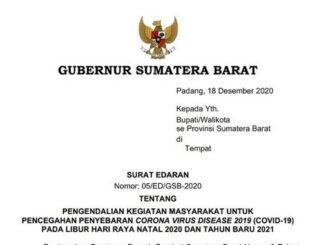 SE Gubernur Sumbar.