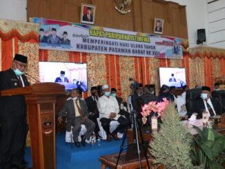 Ketua DPRD Kab. Pasaman Barat saat memberi sambutan.