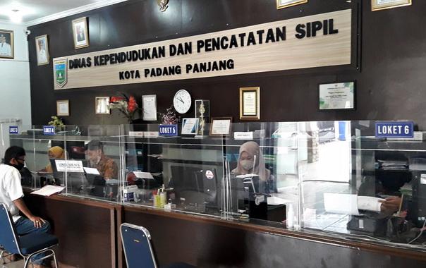 Bagian depan pelayanan publik Dinas Dukcapil.