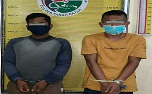 Dua pelaku penyahgunaan narkoba yang ditankap Satres Narkoba Polres Tanah Datar.