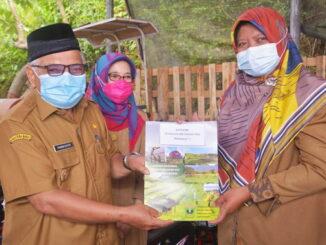 Wawako Sawahlunto saat menyerahkanpiagam penghargaan Peringkat 1 Kategori Penyuluh Pertanian PNS.