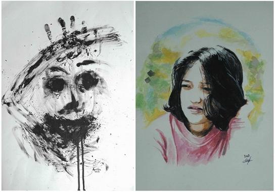Dua dari lukisan yang dipamerkan.