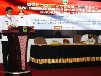 Walikota Sawahlunto Deri Asta dalam Rakor dengan Gubernur Dan Wakil Gubernur Provinsi Sumatera Barat.