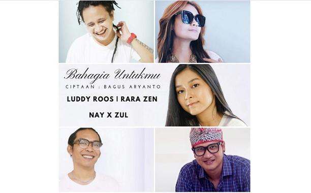 Empat Artis Penyanyi Indonesia Records yang ikut project 3 versi lagu Bahagia Untukmu.