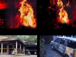 Dua rumah ninik mamak Nagari Bawan yang diteror Bom Molotov di Lubuk Basung, Agam.