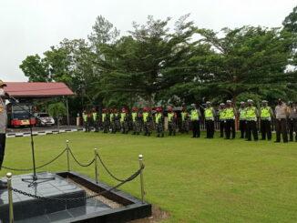 Kapolres Sijunjung, AKBP. Andry Kurniawan, S. Ik, M. Hum pimpin apel sinergitas TNI - Polri di jajaran Kodim 0310SSD dan Polres Sijunjung.