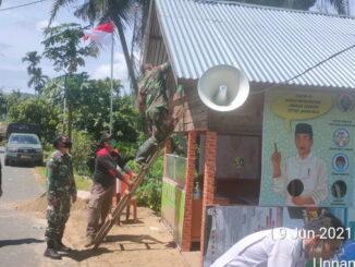 Pembenahan posko PPKM di Nagari Talang Maur.