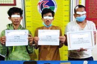 Tiga pelaku yang ditangkap Satresnarkoba Polres Tanah Datar.