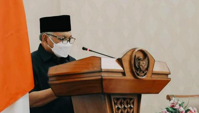 Wakil Walikota Sawahlunto menyampaikan Nota Pengantar Atas Ranperda Tentang Laporan Pertanggungjawaban Pelaksanaan APBD TA 2020.
