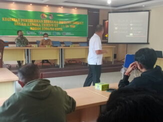 Satgas TMMD kerjasama dengan BNN Payakumbuh berikan penyuluhan tentang narkoba kepada masarakat.