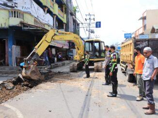 Pengerjaan Jalan Pedestrian di Payakumbuh