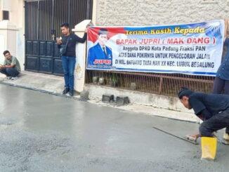 Pengecoran Betonisasi dari Dana Pokir Anggota DPRD Kota Padang, Jupri.