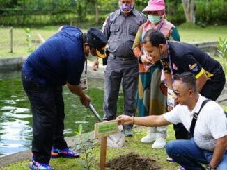 Bupati Padang Pariaman Suhatri Bur saat menanam pohon.